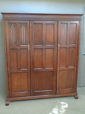 Antique 1920's Waring & Gillow Oak Armoire/Entertainment Wardrobe Linen Fold Pat