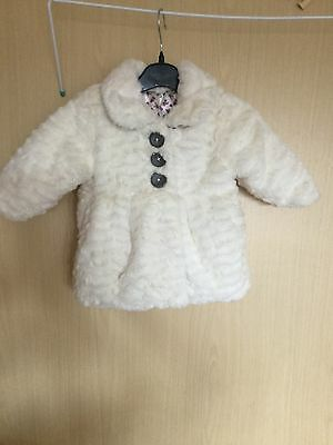 Fur Button Up Coat 0-3 Months