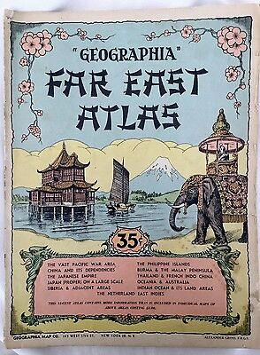 """GEOGRAPHIA"" Far East Atlas. Shows Japanese Empire World Influence during WW II."