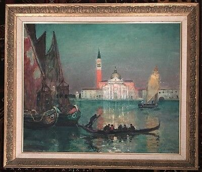 Antique Signed E. Wery Oil On Canvas Framed Seascape Painting