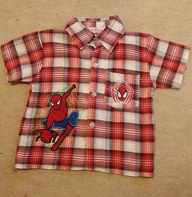 Short sleeved Spider-Man checked shirt Shirt Aged 12-18 months.