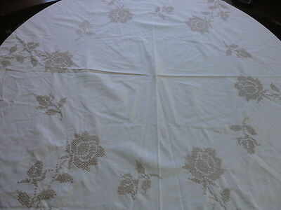 """Vintage 1980'S Hand-Embroidered 72"""" Round Tablecloth  , cross stitch , Ecru"""