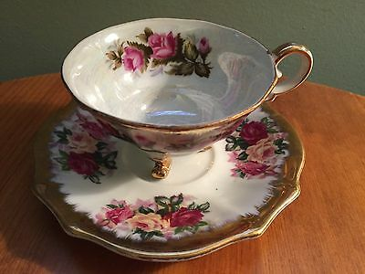 Napco Iridescent Floral Cup and Saucer