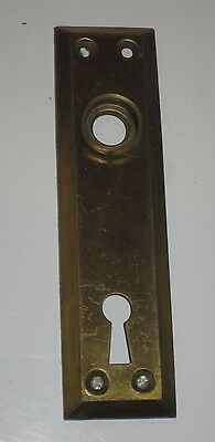 """Vintage Brass Metal Door Knob Backplate Lot/3 4.75"""" Nos Back Plate With Key Hole"""