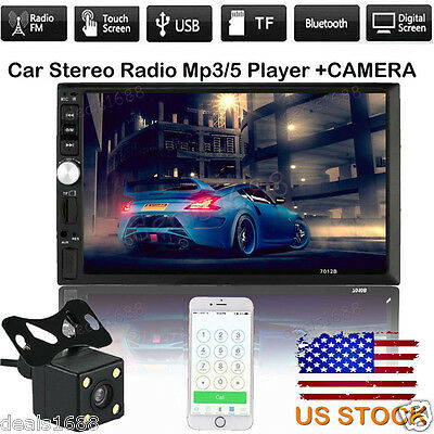 "7"" HD Touch Screen Bluetooth Radio Double 2 DIN Car Stereo MP5 Player  Camera US"