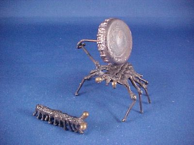 Two Vintage Hand Made Metal Insect Bug Sculptures ~ Millipede and Spider