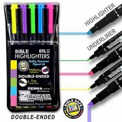 Bible Highlighter Set of 5 Fluorescent Double Ended Markers Fine/Medium by Zebra
