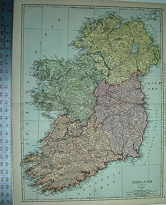 IRELAND RAND McNALLY INDEXED ATLAS MAP 1898 LARGE 21 BY 28 INCHES