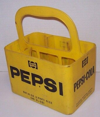 Vintage Pepsi-Cola Yellow Plastic Six 16 oz Soda Bottle Carrier