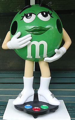 "M&m's Character Green Store Display Miss Green 39"" Tall On Rollers/casters"