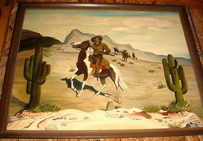 Lare Old Hand Done Oil Painting Buffalo Bill on Horse by WillieTerry MAKE OFFER