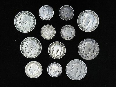 Lot of 12 Great Britain SILVER coins 1874-1942 3, 6 pence shilling