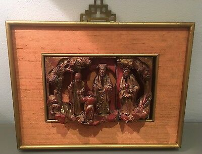 Antique Vintage Oriental Chinese Hand Carved Wood Framed Panel/plaque