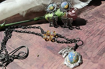 Butterfly Dancing on Blue Opal Necklace with Crystal links Super Sale Low Ship
