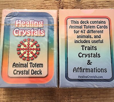 Healing Crystals 47 Animal Totem Crystal Card Deck- Traits & Affirmations