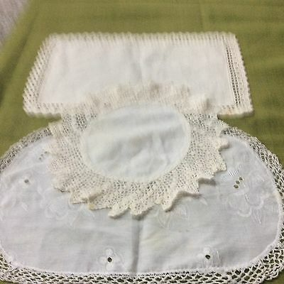 Job Lot antique hand crochet lace,linen.cotton doillies mats