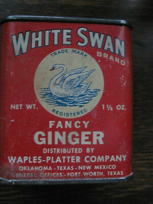 White Swan Spice Tin Great Graphics All Tin Litho
