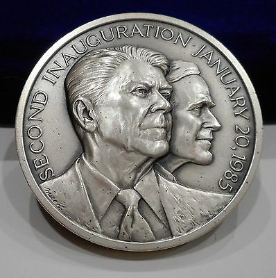 1985 REAGAN Official Presidential Inaugural Medal ~LARGE SILVER~ Medallic Art Co