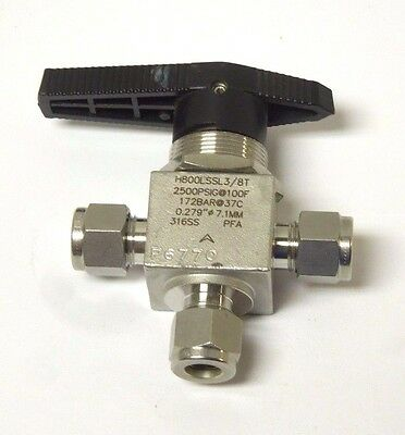 """HAM-LET 3/8"""" od TUBE CONNECTION 3-WAY BALL VALVE 2500 psi 316SS <650NW"""