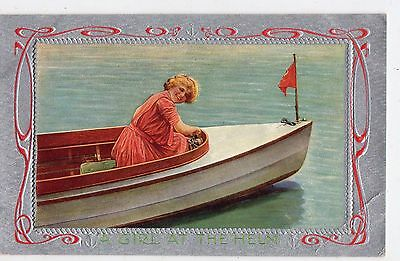 Early 1900's - A Girl At The Helm - Postcard - Selling Lot Of Cards