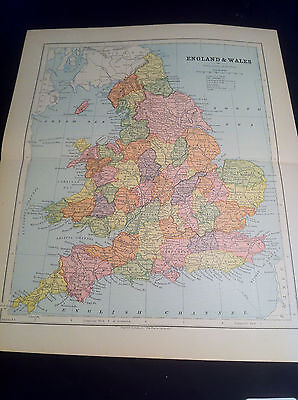 """1879 Antique Map of England and Wales 13"""" x 10 3/4"""" Ex Cond."""