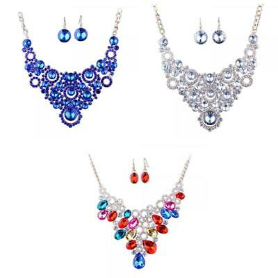 3 Sets Bridal Wedding Party Jewelry Set Crystal Diamante Necklace Earrings
