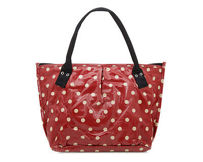 Ladies purse - Red polka dot bag - Oilcloth Tote shoulder bag - Craft bag beach