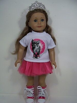 3pc Kitty-cat-kitten TOP w/SKIRT & TIARA Doll Clothes For 18 American Girl (Debs