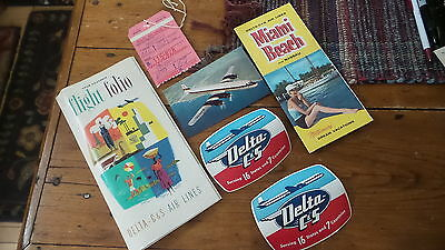 Vintage 1954 DELTA C&S AIR LINES Souvenir FLIGHT FOLIO Decals,Brochure,PC,Tag