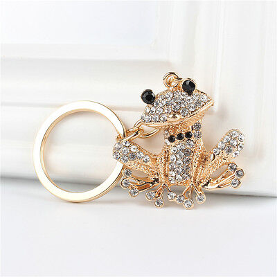 Lovely Frog Cute Creative Crystal Pendant Charm Purse Bag Key Chain Ring Gift