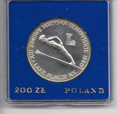 Proof Silver 200 Zl ,1980, Poland, Winter Olympic Games,