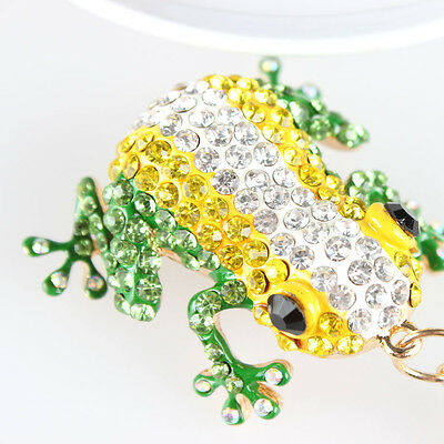 Lovely Frog Crystal Rhinestone Charm Pendant Purse Bag Key Chain Creative Gift