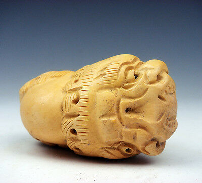 Boxwood Hand Carved Japanese Netsuke Sculpture Double Head Dragon #01291701
