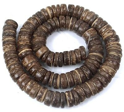 10mm Natural Coconut Heishi Rondelle Beads 16""