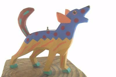 """Bright Hand Painted Coyote Dog Ornament Wood 3 x 4"""""""