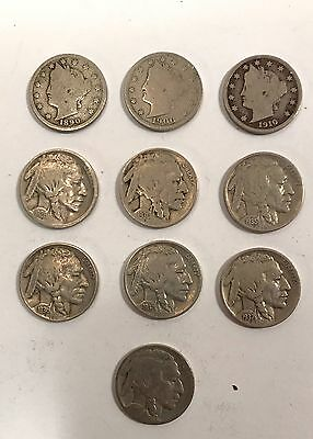 10 Us Liberty V Nickels Buffalo  1890 1900 1910 1930 1935 1936D 1937 1937D 2Unk