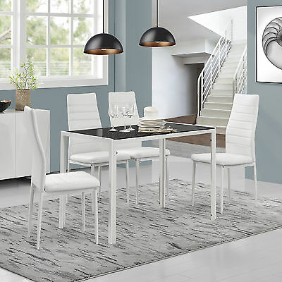 [en.casa]® Dining Table+4 Chairs White/Black Kitchen Table Room Glass
