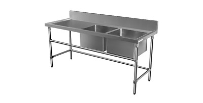 2200x600mm COMMERCIAL DOUBLE RIGHT BOWL KITCHEN SINK STAINLESS STEEL BENCH E0