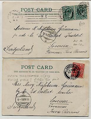 AN176 1903 GB London Postcards Matched Pair . Hand illustrated