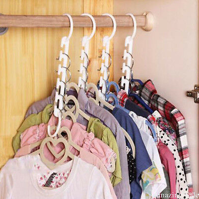 Space saver hangers 8 Pc closet organizing  multiple clothes hanger holder SM66