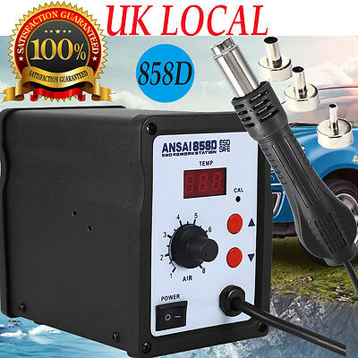 858D LED HOT AIR REWORK SMD SOLDERING STATION LED Display with 3 Nozzles 220V