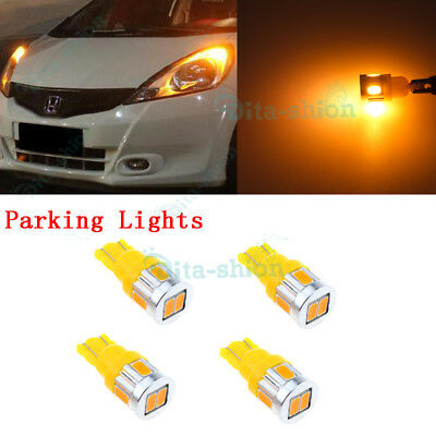 Yellow T10 194 168 SMD 5050 LED Car Wedge Tail Side Parking Light Globe 12V -4x