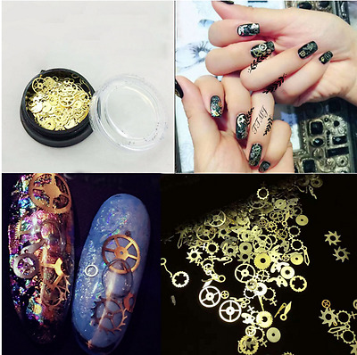 200pcs 3D Nail Art DIY Steampunk Geal Decoration Alloy Pearl Jewelry Wheel