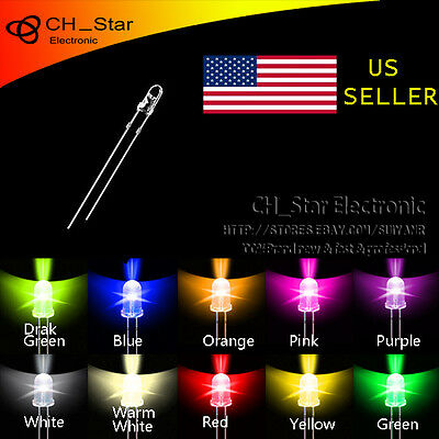 10colors 200pcs 3mm Led Diodes Water Clear Red Green Blue Yellow White Mix Kits