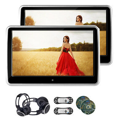 """2pcs 10.1"""" TFT LCD Car Headrest Monitor DVD Player Screen Touch HDMI Display"""