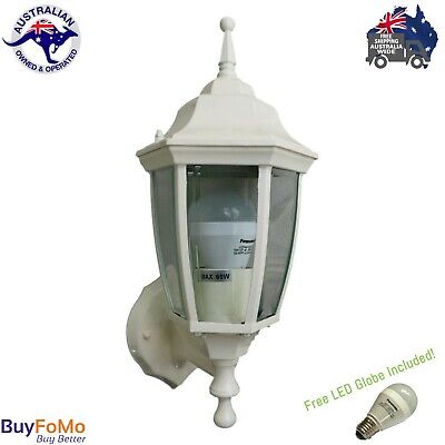 LED Outdoor garden wall mounted feature Traditional coach lamp Cream+LED globe
