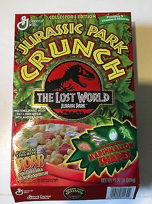 """Jurassic Park Crunch """"The Lost World"""" unopened cereal box. 1997 General Mills"""
