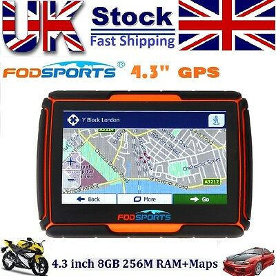 "Motorbike GPS SAT NAV 4.3"" Touch Screen 8GB Waterproof Bluetooth+Installed Maps"