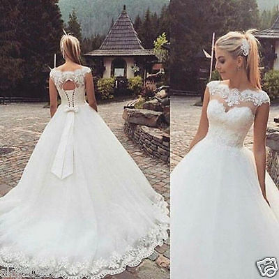 2017 New White/Ivory Lace Up Of Back Wedding Dress Bridal Gown Stock Size 4-16