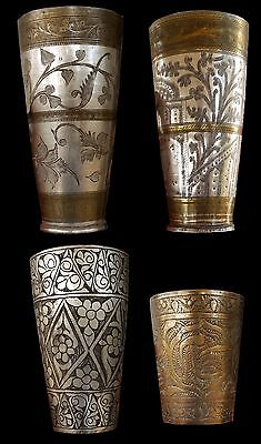 Four (4) Vintage/Antique Afghan Wedding Cups, Brass with Silver Accents